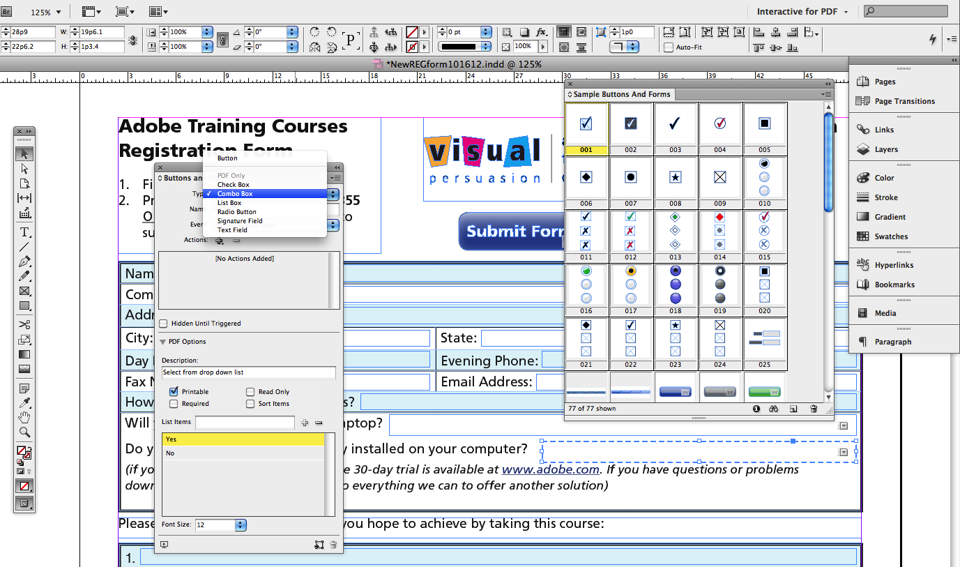 Creating PDF Forms with InDesign CS6