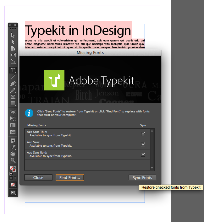 Working with Typekit in InDesign CC | www VPClasses com